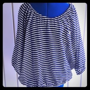 Jcrew blue and white blouse size large